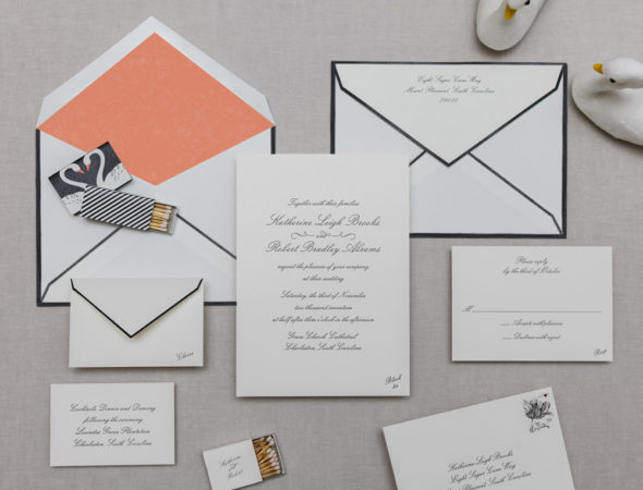 Invitation Suite with Coral Tissue Liner