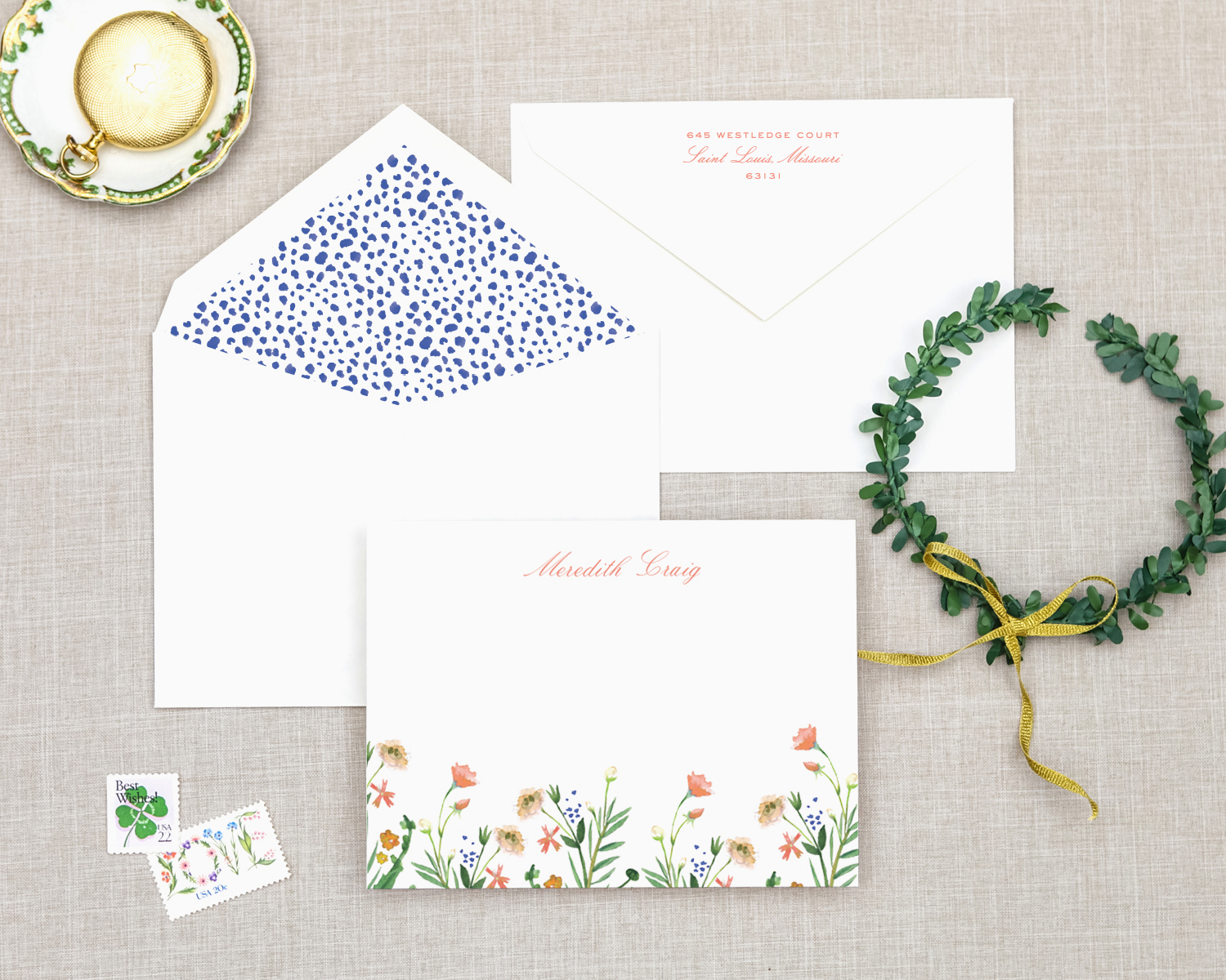 wild flower water color stationery