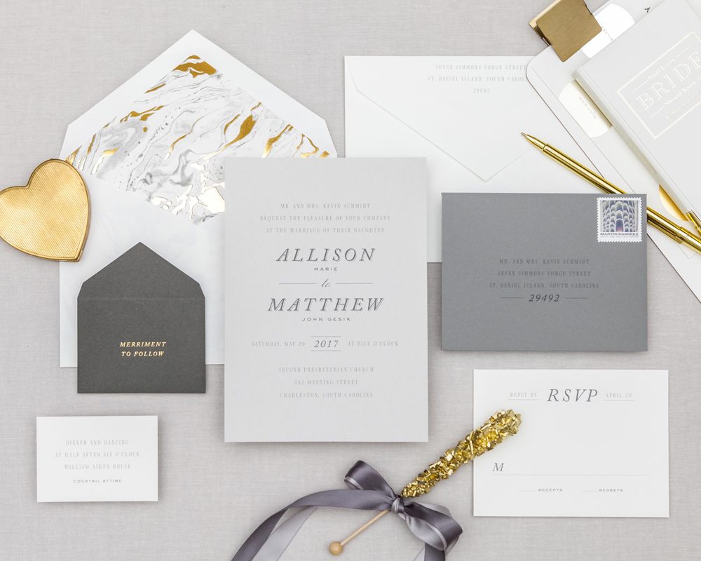 marble wedding invite
