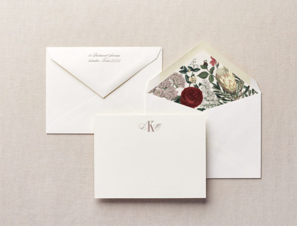 floral rose stationery
