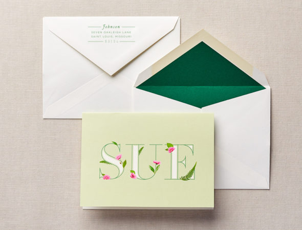 women floral monogram stationery