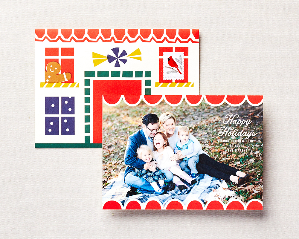 Gingerbread house inspired holiday card