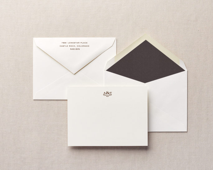 woodgrain monogram stationery