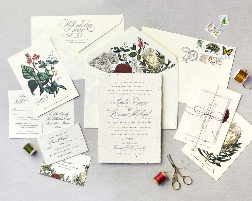 seed paper wedding invitation
