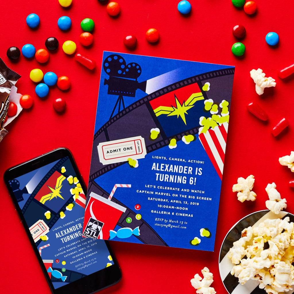 STL Movie Kid Party Invites