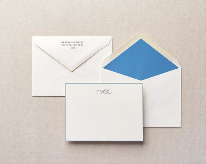 blue notecards and liner