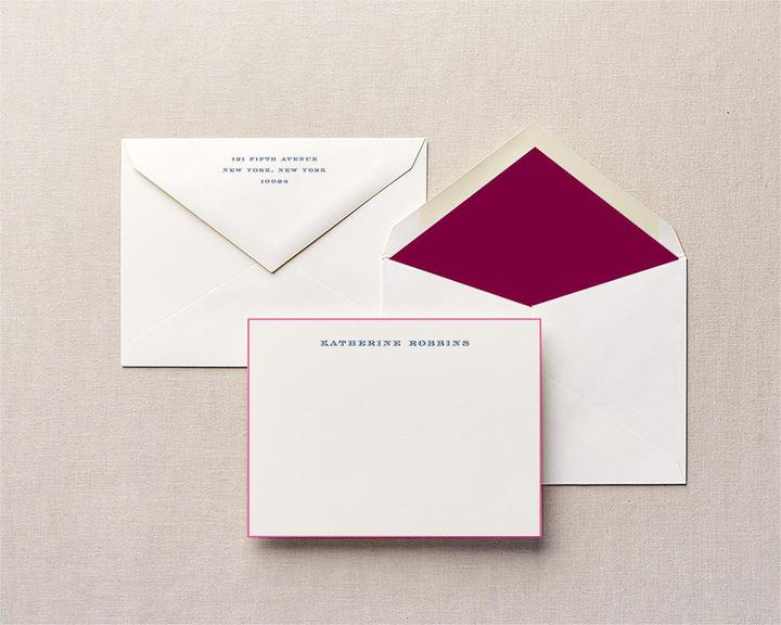 maroon painted edge women's stationery