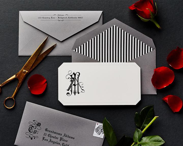 rose and thorn monogram stationery