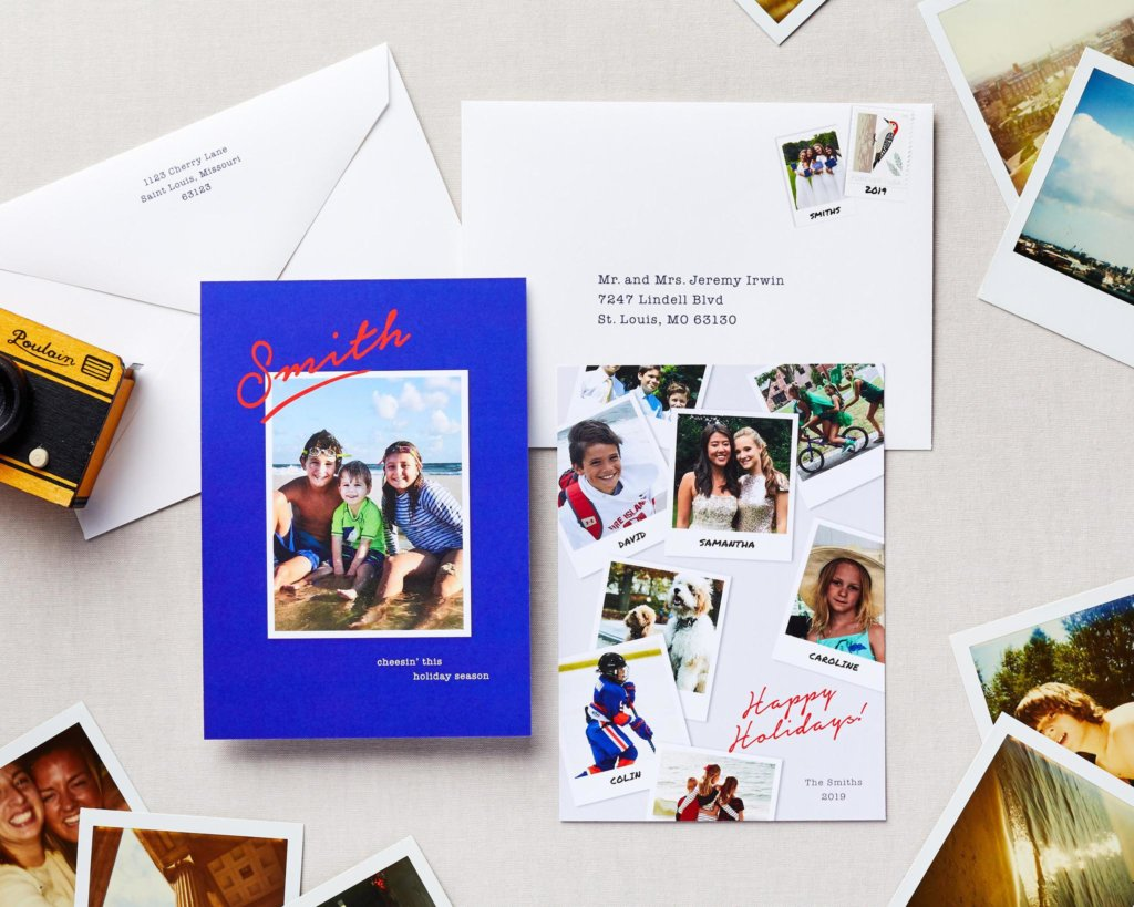 polaroid holiday card with photos