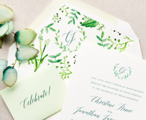 Watercolor Monogram & Colored Envelope