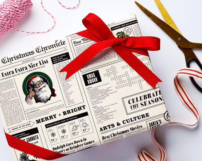 newspaper holiday wrapping paper