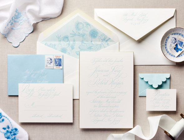 invitation with blue liner