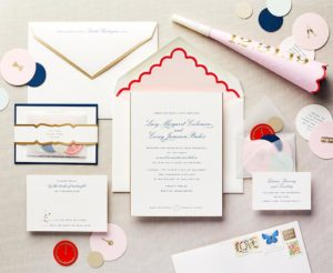 Happy-Go-Lovely Whimsical Wedding Invitation  Featured in Martha Stewart