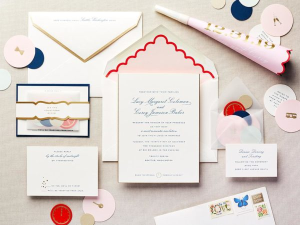Happy-Go-Lovely Wedding Invitation  Featured in Martha Stewart Weddings
