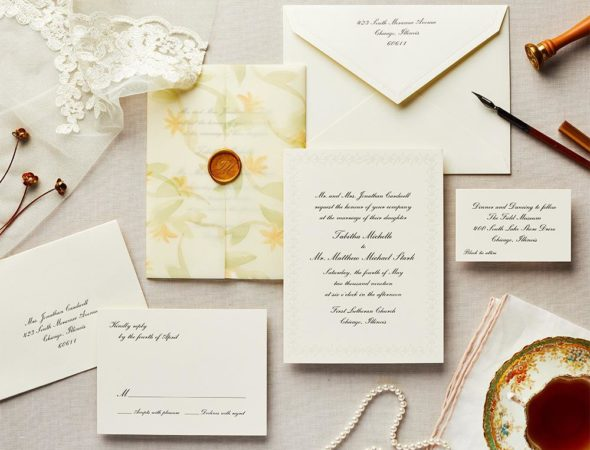 traditional script wedding invitation