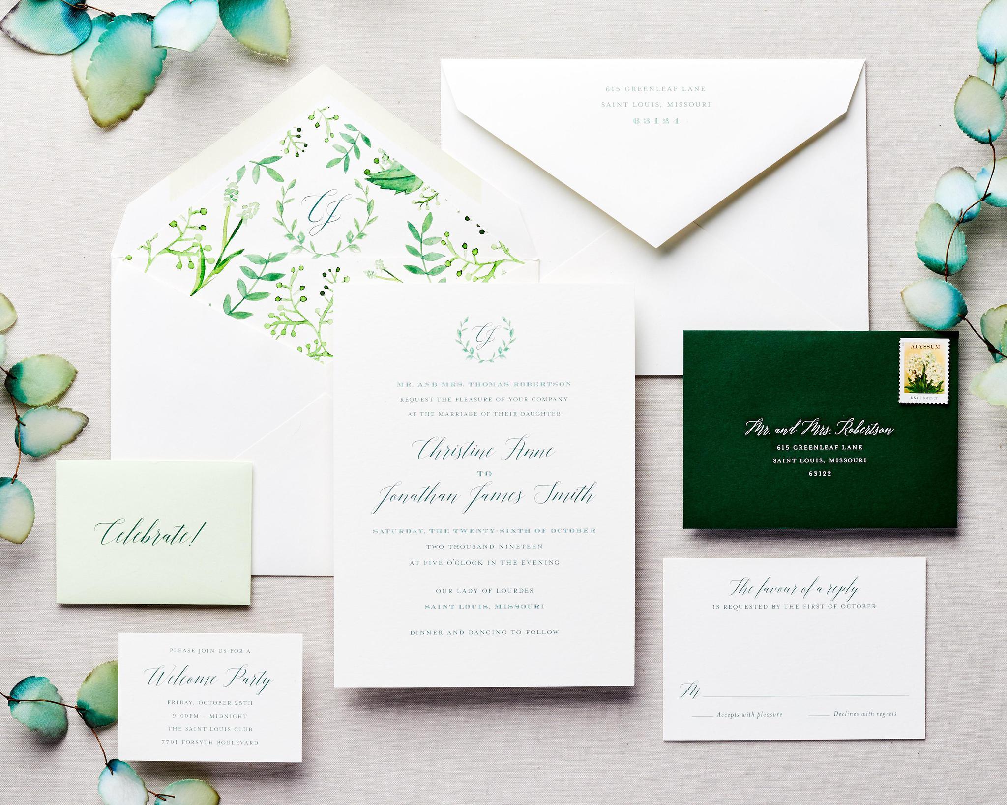 green watercolor wedding invitation