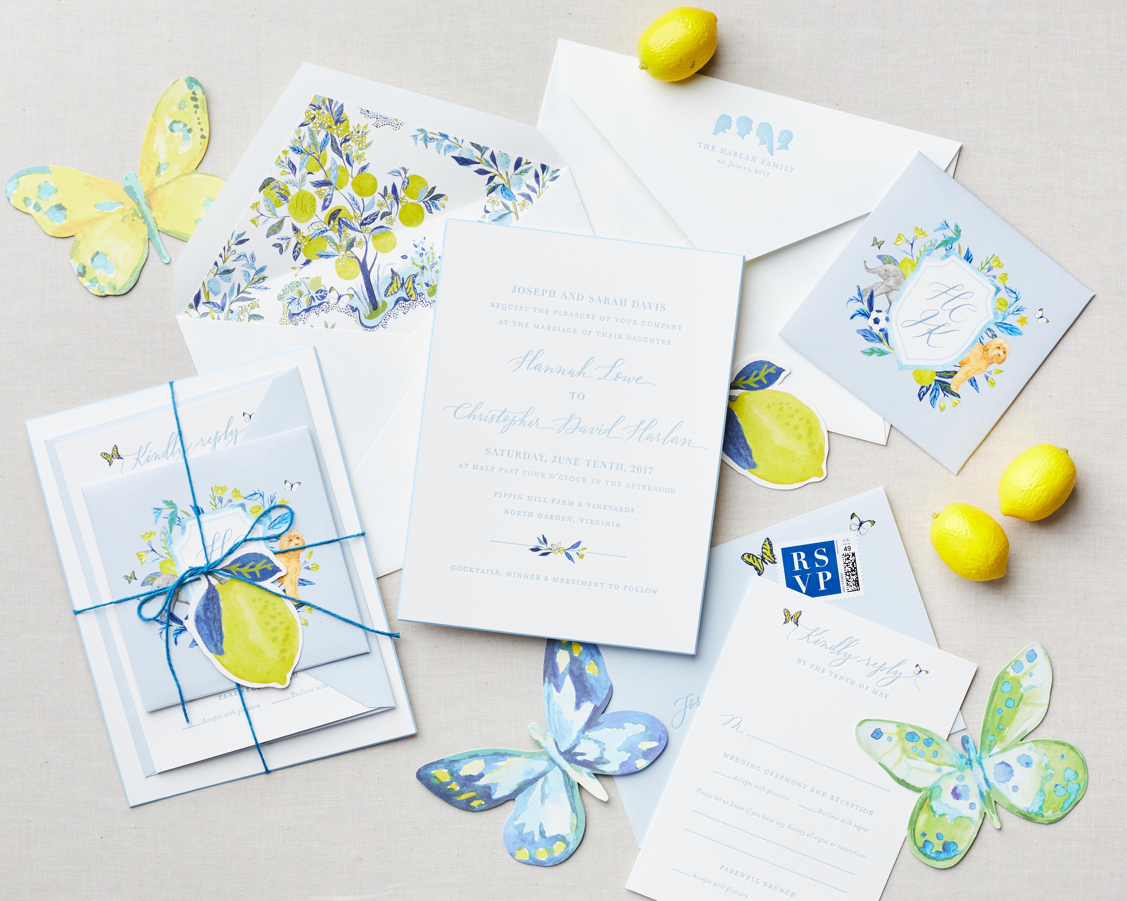 lemon themed watercolor invite