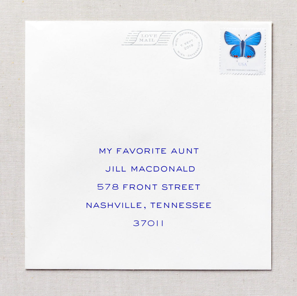 addressing envelope to an aunt