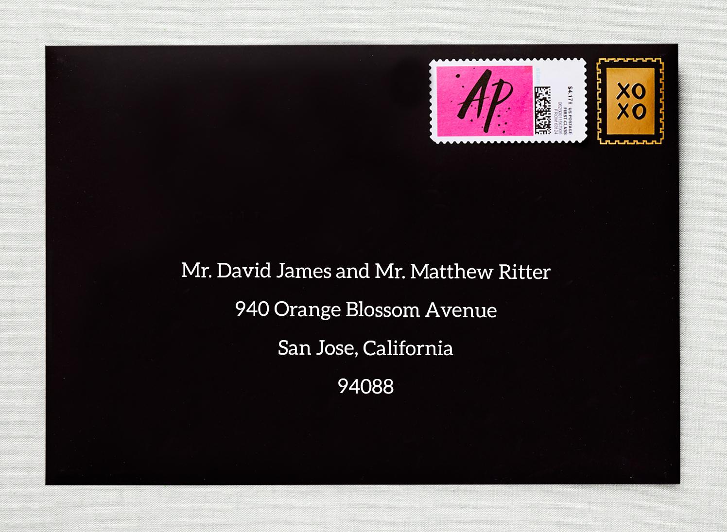 envelope with custom stamp