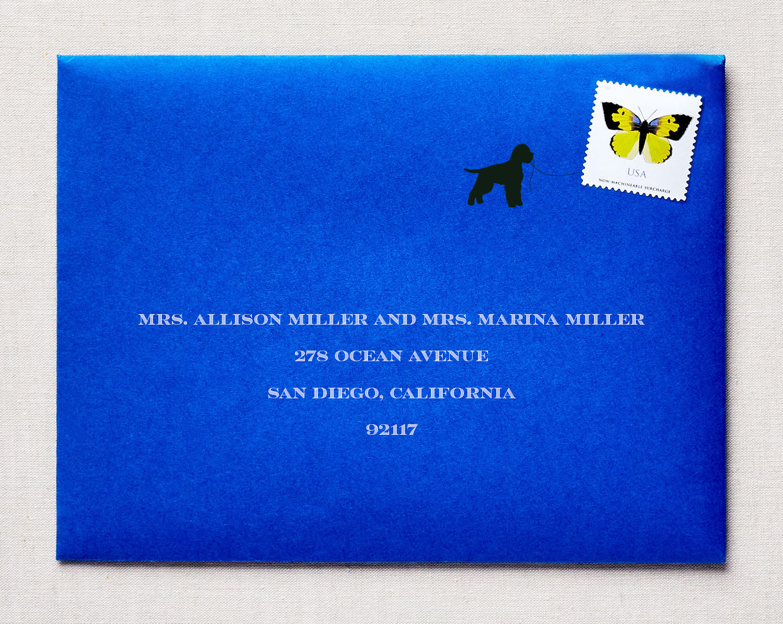 wedding invitation with dog interactive stamp