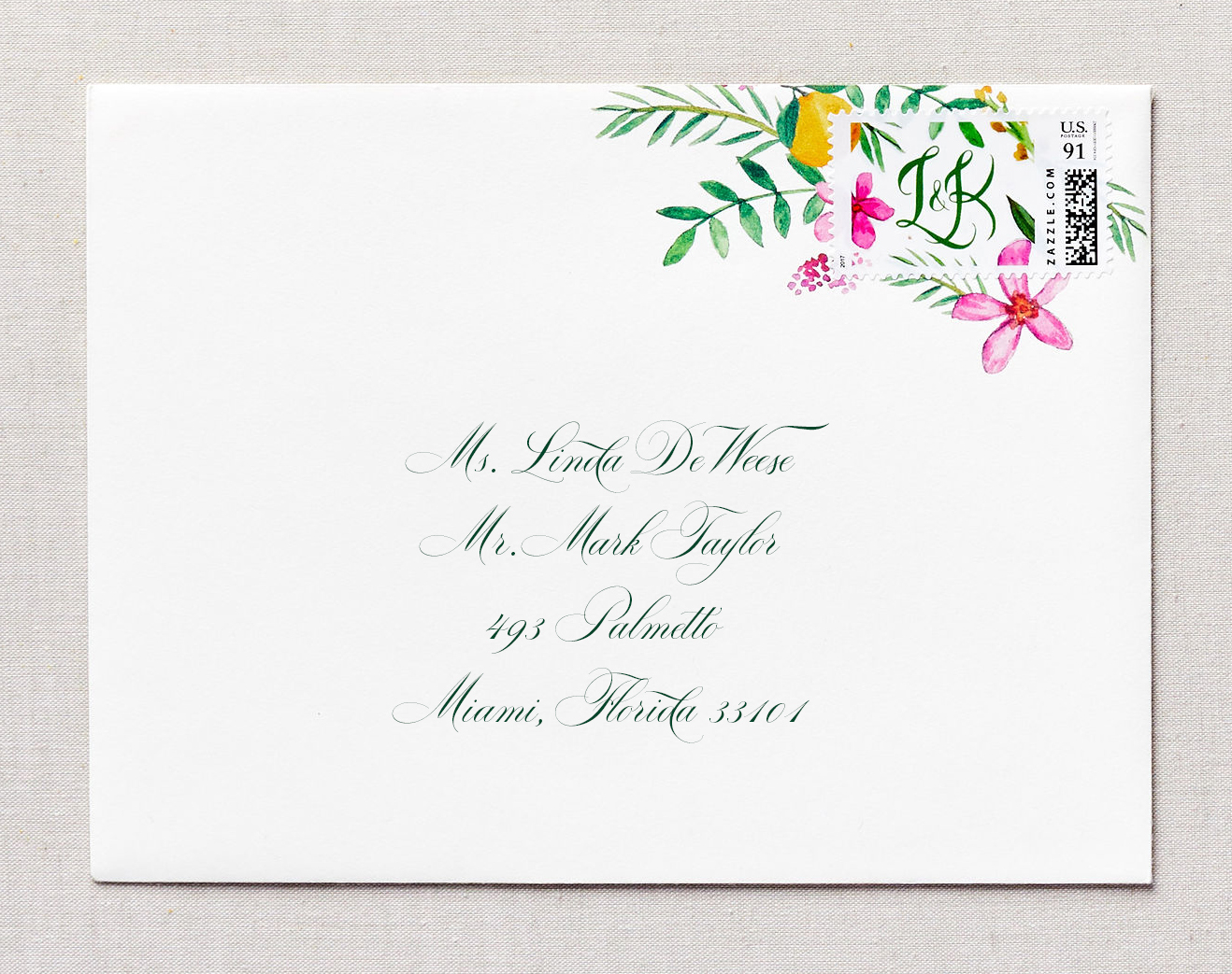 envelope with watercolor