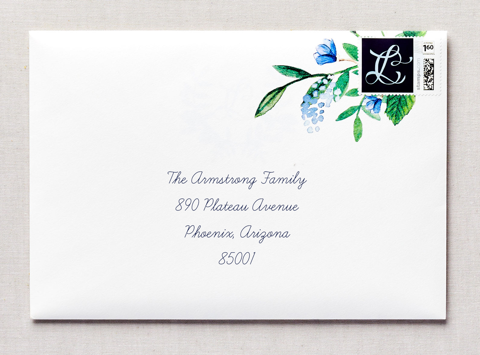 elegant wedding invitation with watercolor
