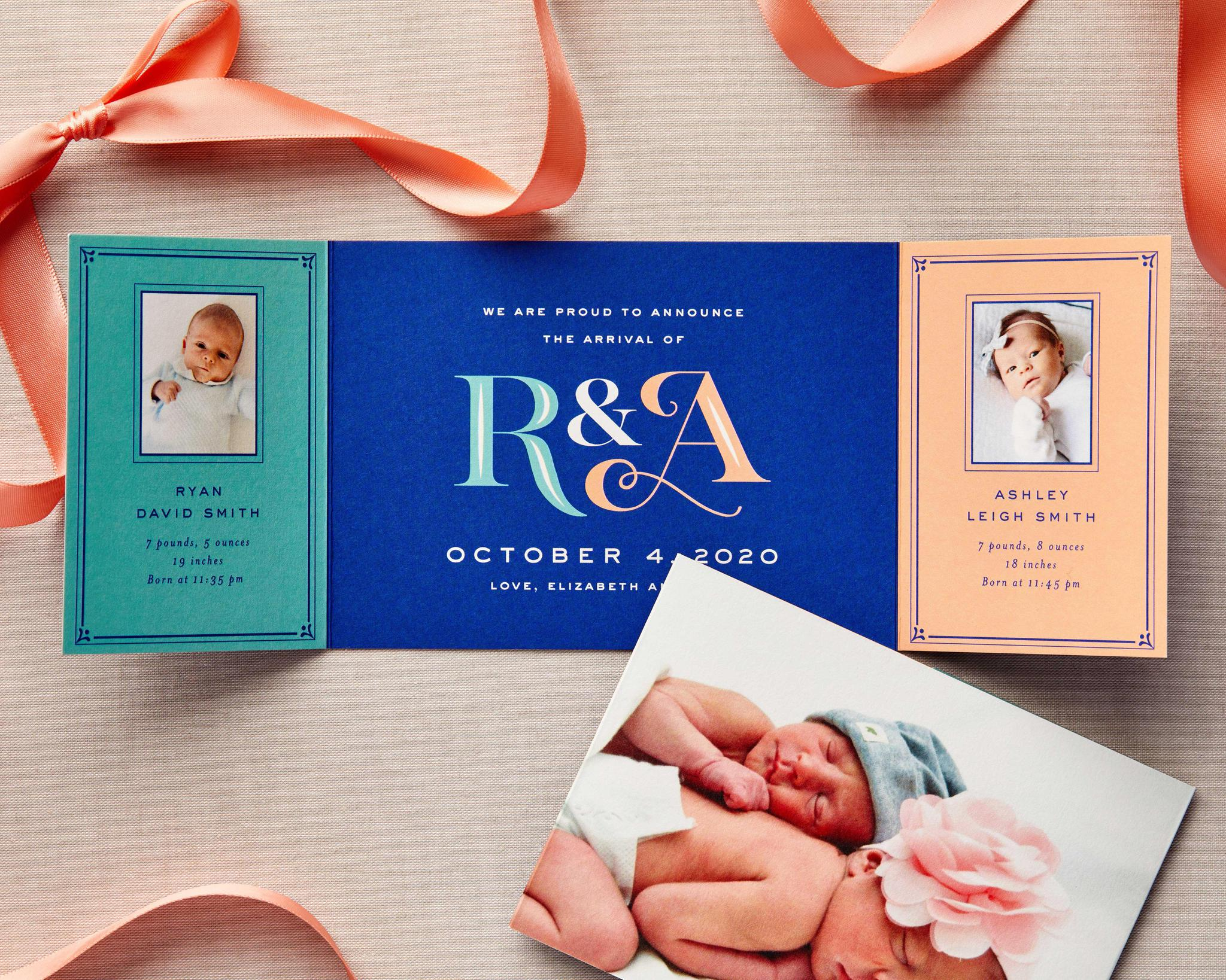Cute Twins Folded Baby Announcement