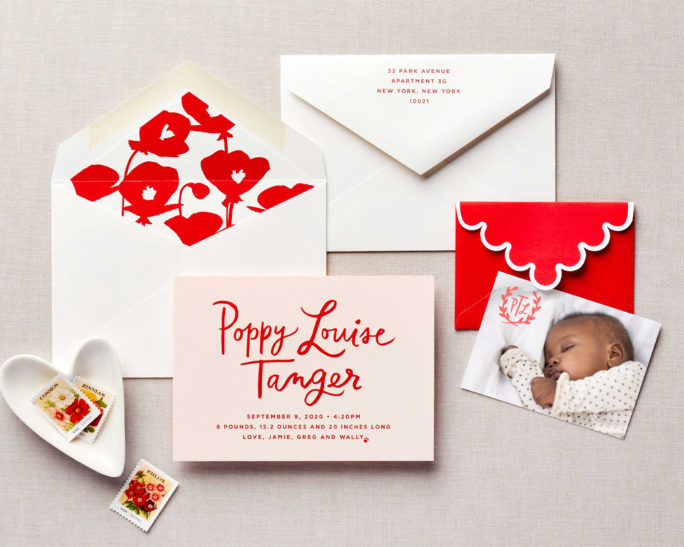 cute floral baby announcement