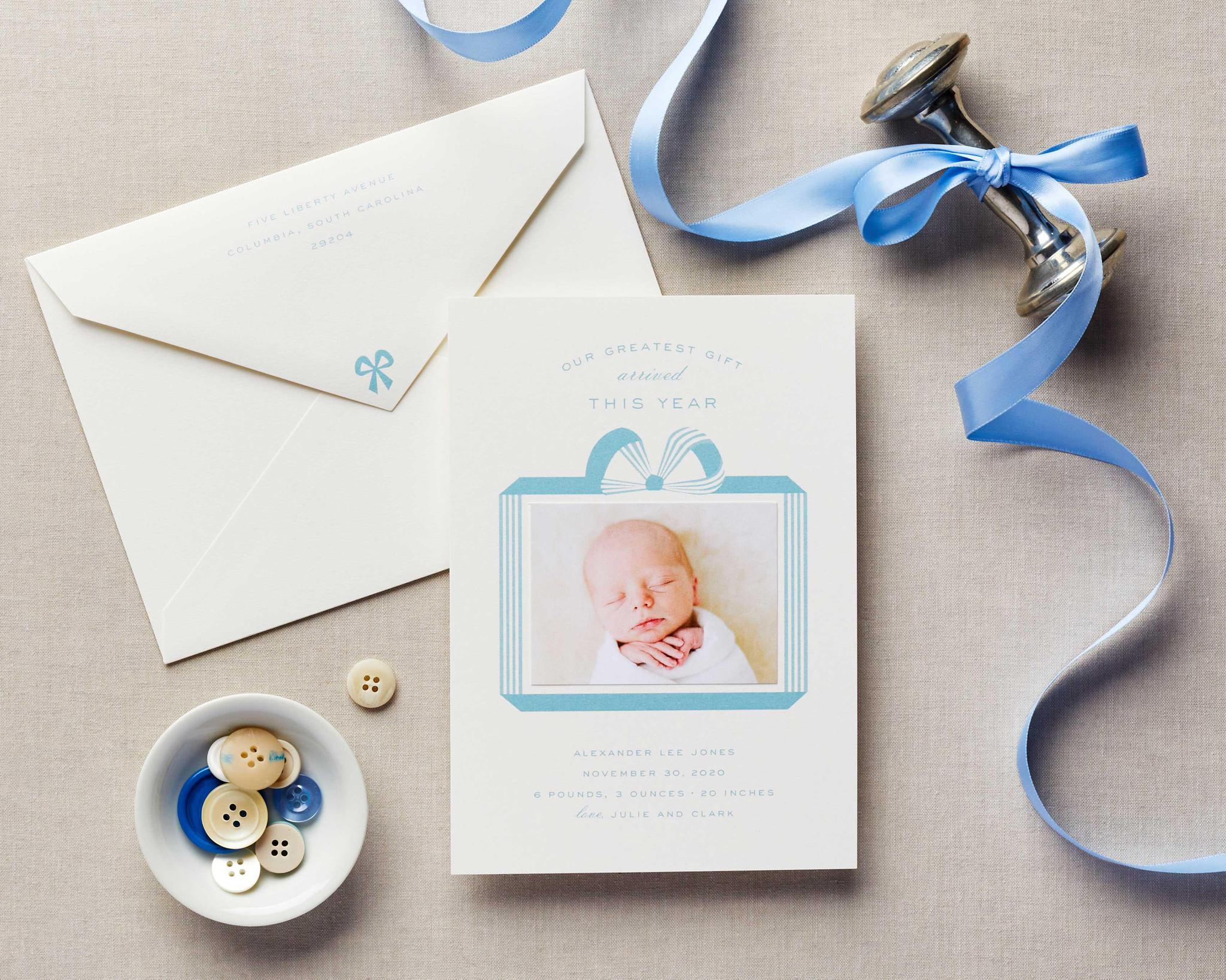 Blue Bow Sweet Simple Baby Announcement