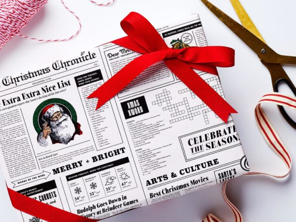 Holiday Newspaper Wrapping Paper