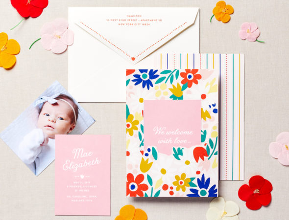 Cute Floral Pink Baby Announcement