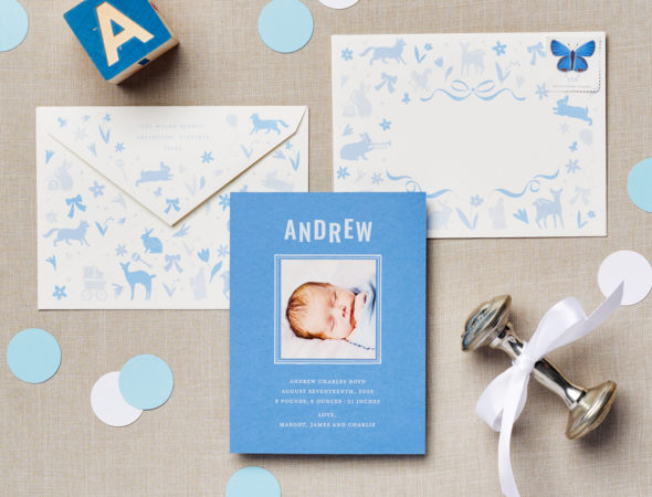 Fun Envelope Icons Blue Baby Announcement